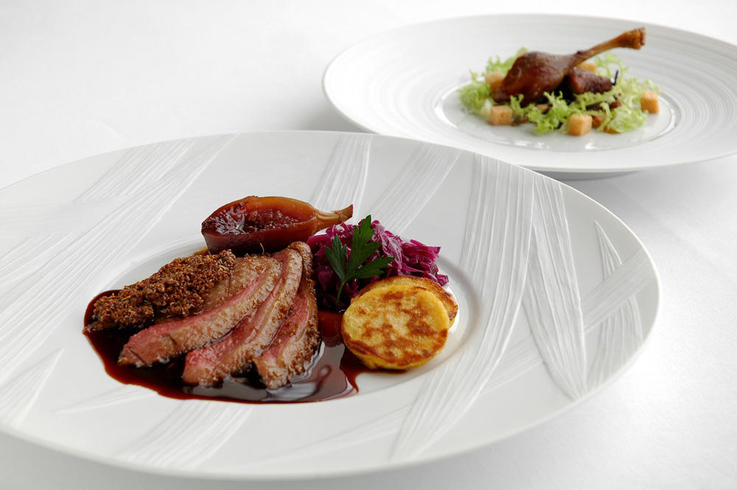 Lacquered and spiced mallard duck  with confit red cabbage and figs